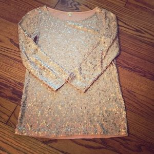 J. Crew rose gold sequin blouse